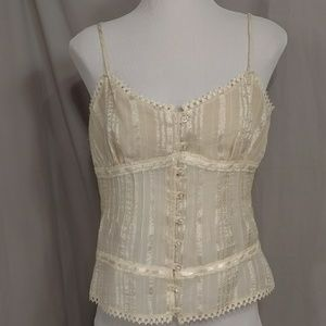 Lacey Sheer Ivory Camisole Top L Feminine Cream